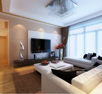 现代风格110平米三居室房子装修效果图