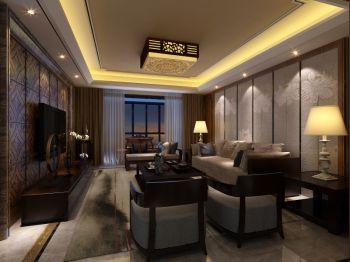 客厅背景墙现代中式风格装饰设计图片