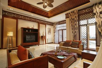 客厅背景墙东南亚风格装潢设计图片
