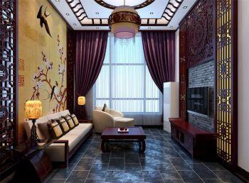 客厅窗帘中式风格装潢图片