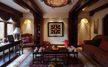 客厅咖啡色茶几东南亚风格装修效果图