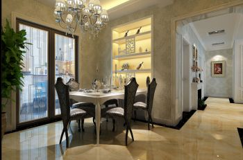 餐厅背景墙简欧风格装潢图片
