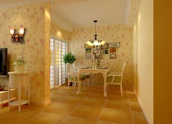 餐厅照片墙欧式田园风格装潢设计图片