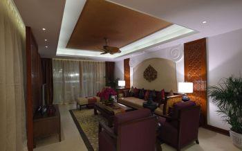 客厅黄色窗帘东南亚风格装潢图片