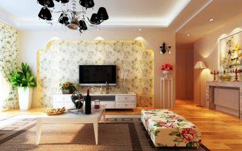 客厅黄色背景墙田园风格装修设计图片