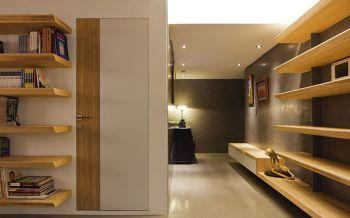玄关黄色背景墙后现代风格装潢效果图