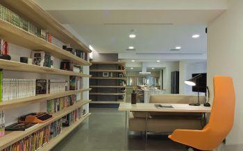 书房黄色背景墙后现代风格装饰图片