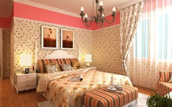 卧室黄色背景墙田园风格装修设计图片