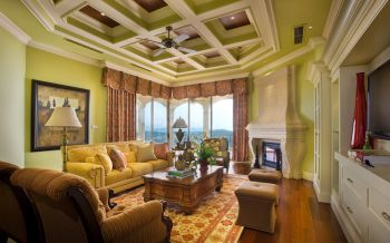 客厅彩色窗帘美式风格装潢效果图
