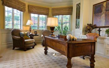 书房咖啡色书桌美式风格装潢图片