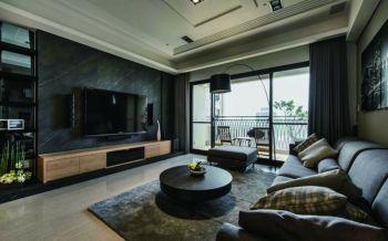客厅黑色背景墙现代风格装饰效果图