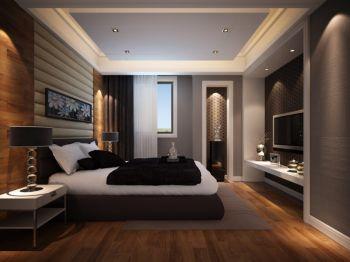 卧室灰色背景墙现代简约风格装潢设计图片