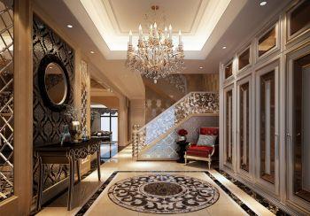 玄关咖啡色楼梯欧式风格装潢效果图