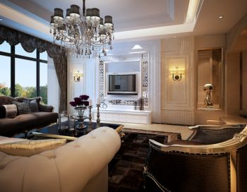 客厅白色背景墙欧式风格装修图片