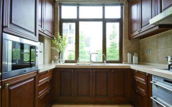 厨房黄色背景墙现代中式风格装饰效果图