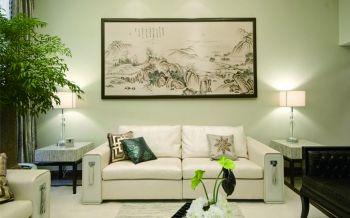 客厅白色背景墙现代中式风格装潢效果图
