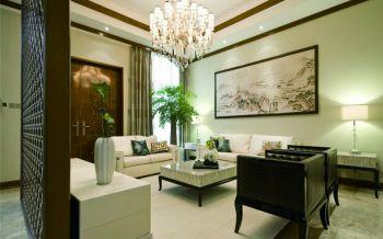 客厅黄色隔断现代中式风格装修图片