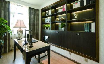 书房彩色窗帘现代中式风格装潢图片