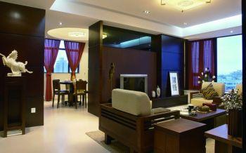 客厅咖啡色背景墙新中式风格装饰图片