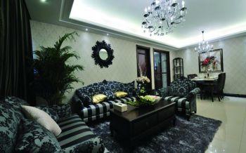客厅白色背景墙欧式风格装潢设计图片
