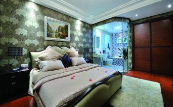 卧室灰色背景墙欧式风格装修效果图