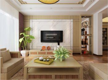 客厅白色背景墙简中风格装潢图片