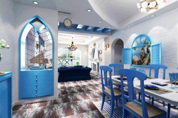 玄关蓝色隔断地中海风格装潢图片