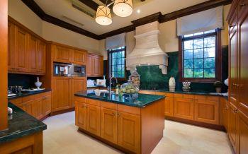 厨房黄色背景墙混搭风格装潢效果图
