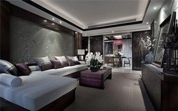 客厅背景墙现代中式风格装饰图片