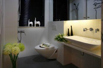 卫生间白色背景墙现代简约风格装潢设计图片
