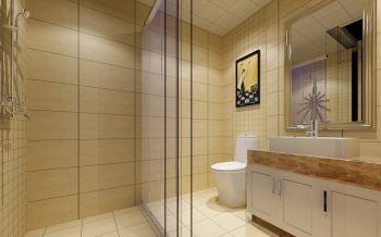 卫生间黄色背景墙现代风格装潢效果图