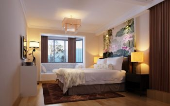 卧室黄色背景墙混搭风格装饰设计图片