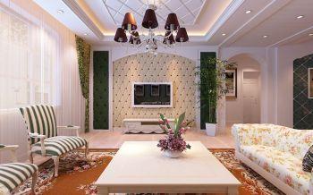 客厅背景墙欧式田园风格装修设计图片