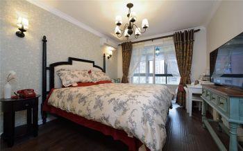 卧室白色窗帘地中海风格装修图片