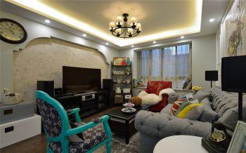 客厅黄色背景墙地中海风格装修设计图片