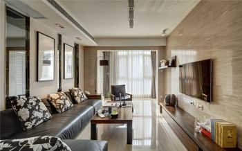 客厅咖啡色背景墙现代简约风格装饰效果图