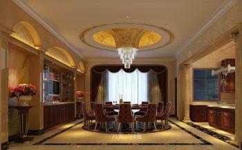 餐厅红色窗帘欧式风格装潢图片