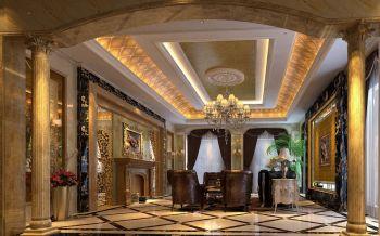 客厅黄色门厅欧式风格装修设计图片
