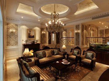 客厅黄色吊顶美式风格装饰图片