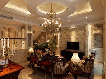 客厅黄色背景墙美式风格装修设计图片