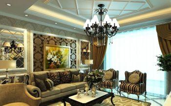 客厅黑色吊顶简欧风格装修效果图