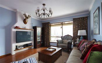客厅咖啡色窗帘美式风格装修图片