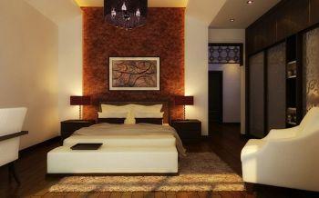 卧室背景墙现代中式风格装潢效果图