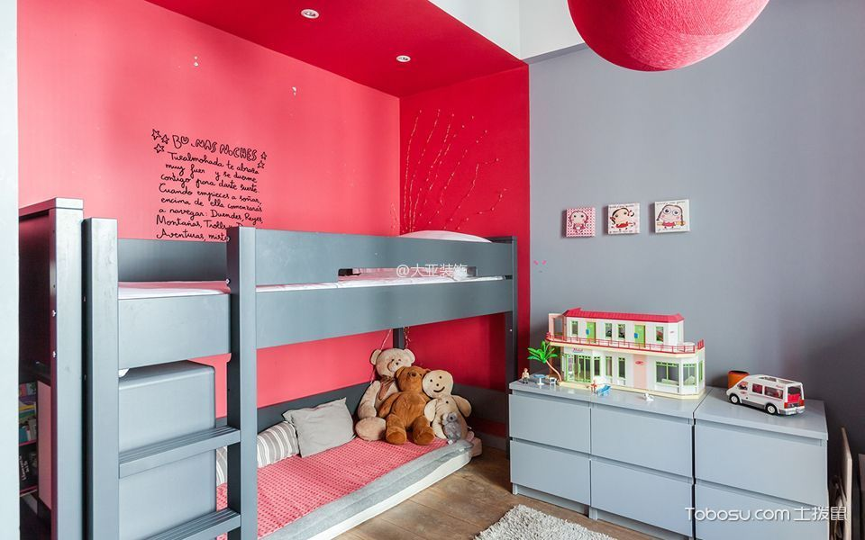儿童房 床_8.7万装修预算120平米复式装修设计图图片