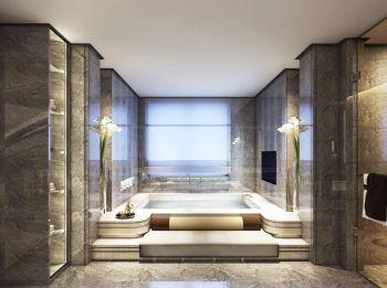卫生间白色浴缸混搭风格装修设计图片