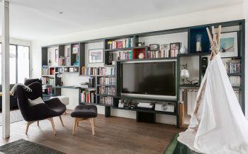 客厅白色背景墙法式风格装潢设计图片