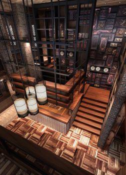 韵味主题餐厅吊顶设计图片