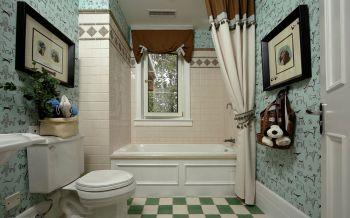 卫生间蓝色背景墙美式风格效果图