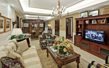 小巧玲珑黄色简欧客厅装修效果图