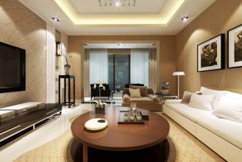 客厅黄色背景墙现代风格装潢设计图片